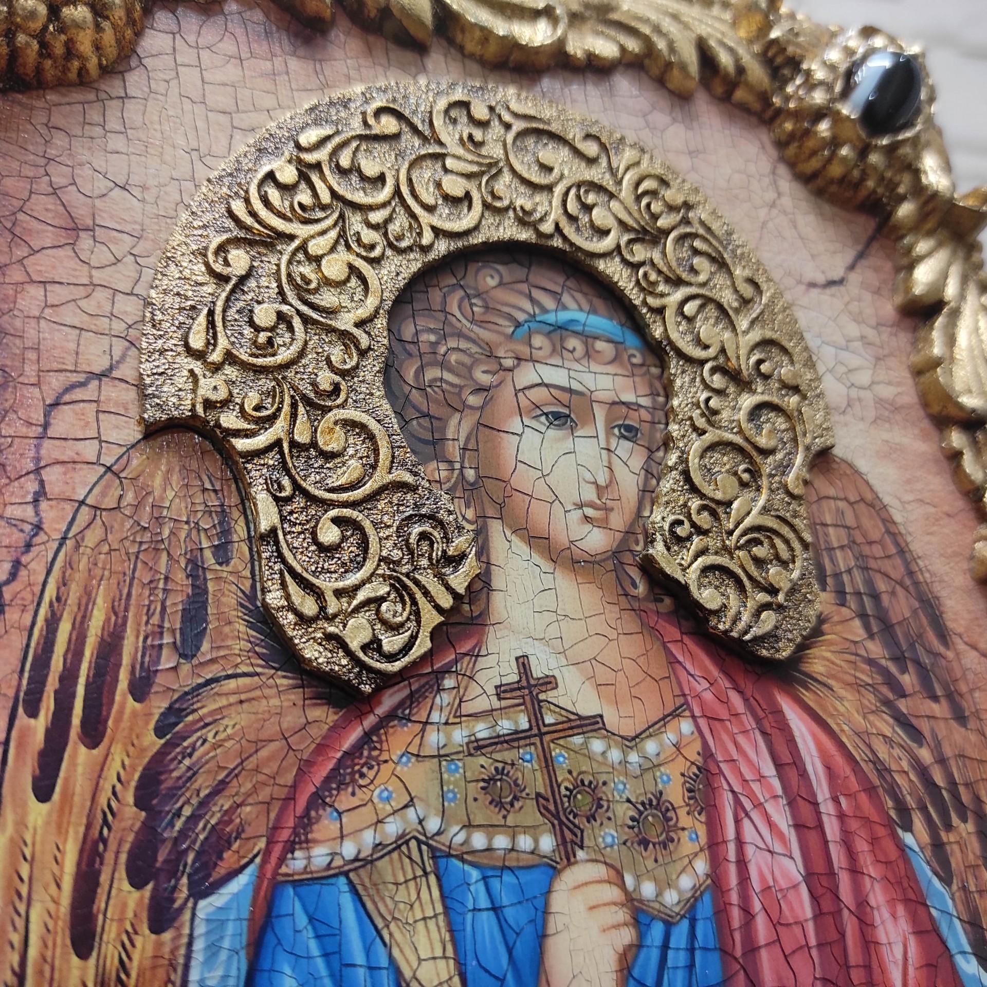 Фотография иконы Ангела Хранителя с камнями центральный вид