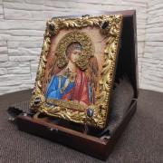Фото иконы Ангела Хранителя с камнями вид сбоку 2