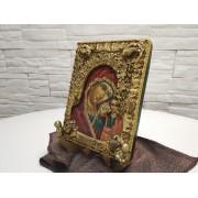 Авторская икона пресвятой богородицы Казанская с камнями