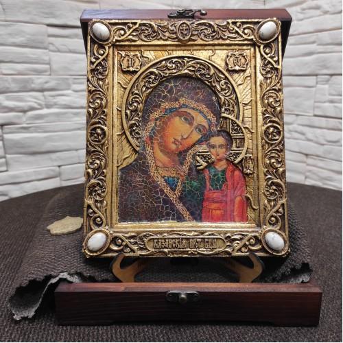 Подарочная икона пресвятой Богородицы Казанская с камнями
