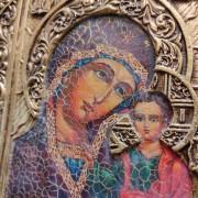 """Фото лика подарочной иконы под старину пресвятой Богородицы """"Казанская"""" с камнями"""
