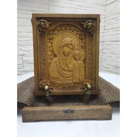 Резная икона богородицы Казанская с камнями
