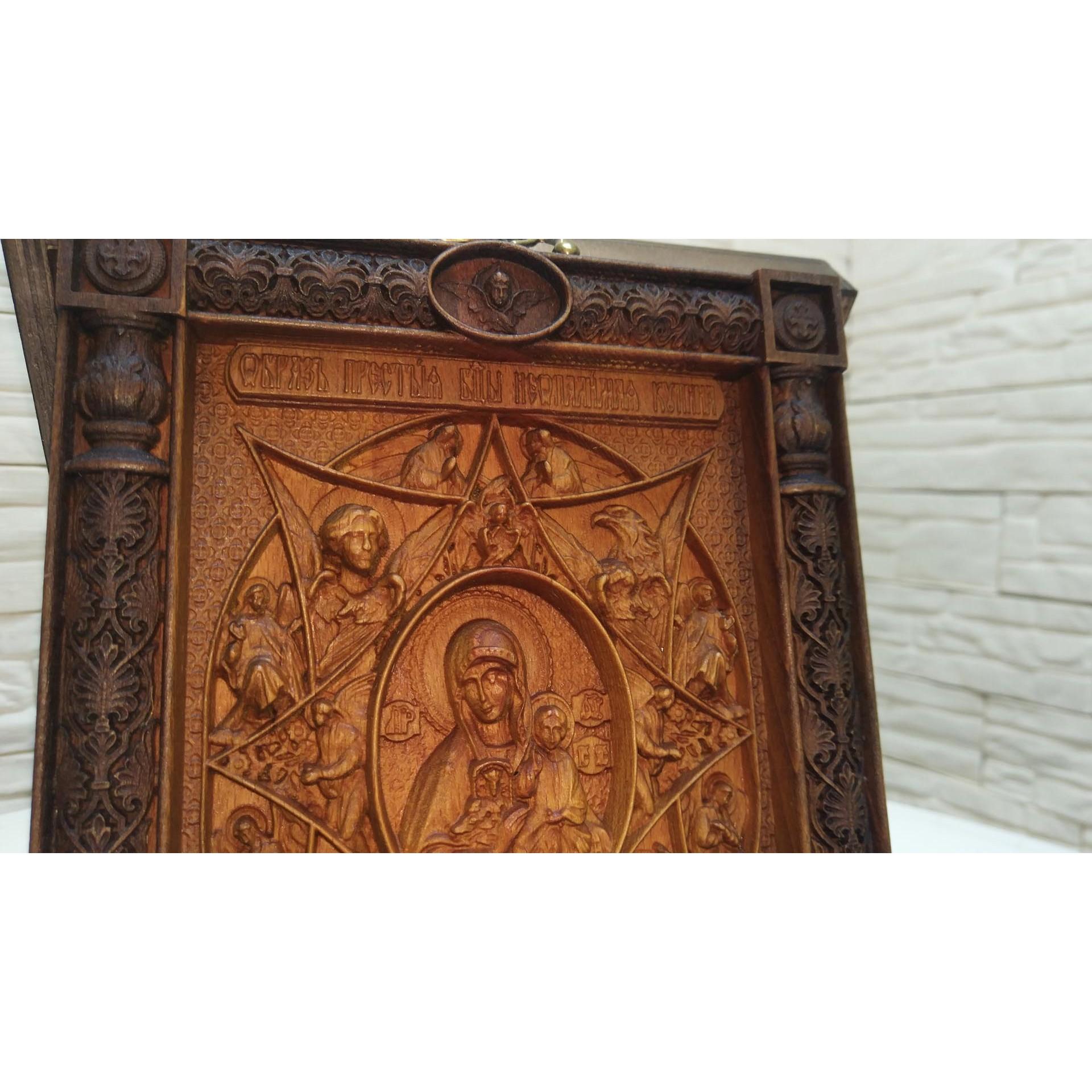 Резная икона богородицы Неопалимая Купина