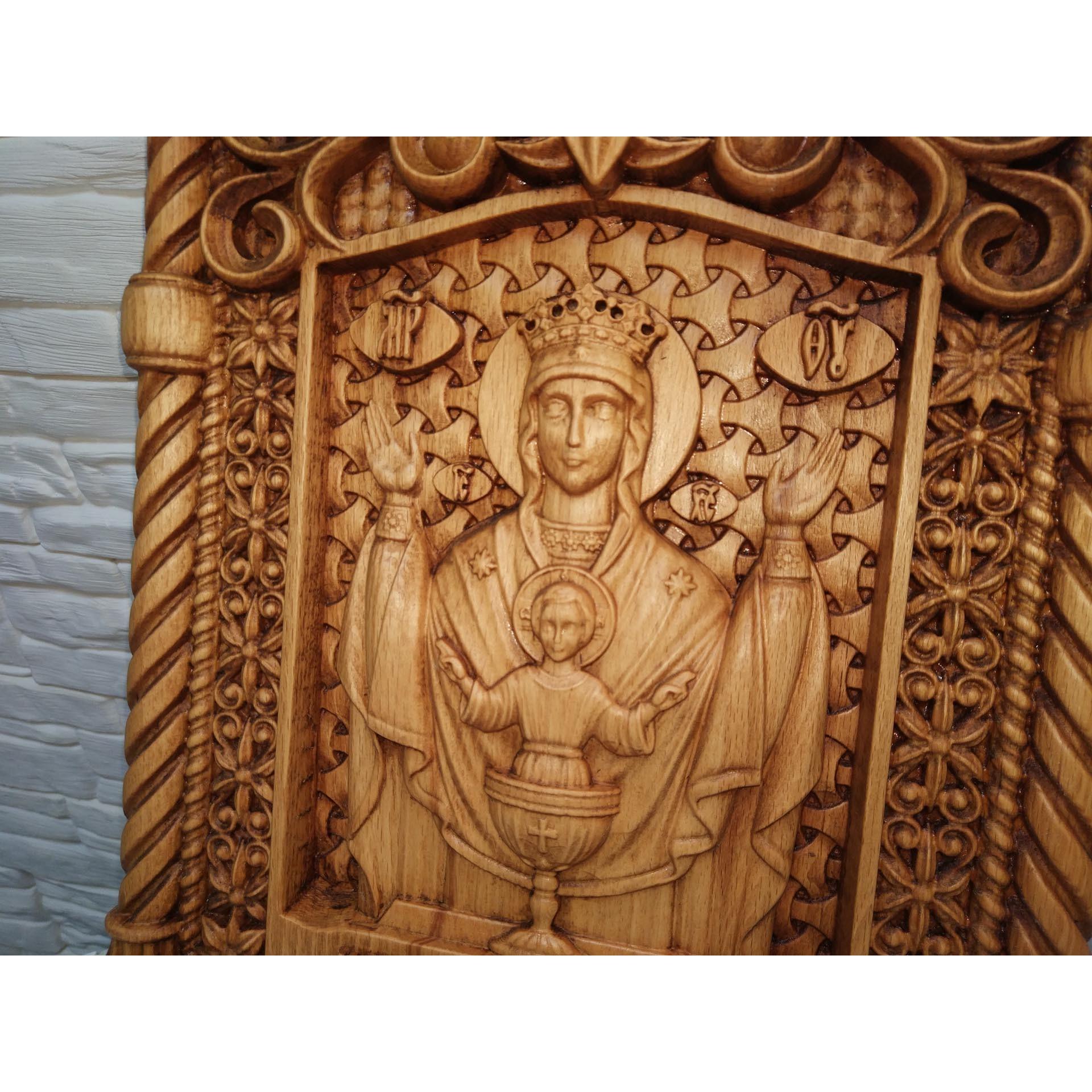Резная уникальная икона пресвятой богородицы Неупиваемая чаша