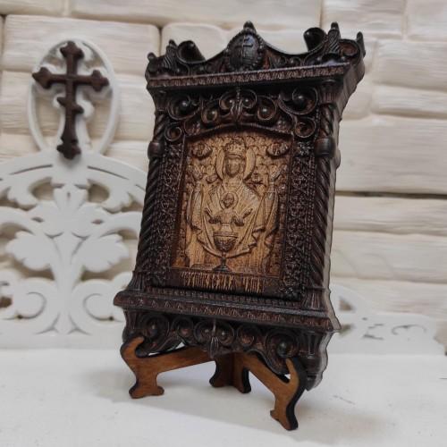 Маленькая резная икона пресвятой богородицы Неупиваемая чаша