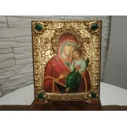 Авторская икона Пресвятой Богородицы Песчанская с камнями