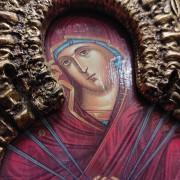 """Фото лика иконы под старину Пресвятой Богородицы """"Семистрельная"""""""
