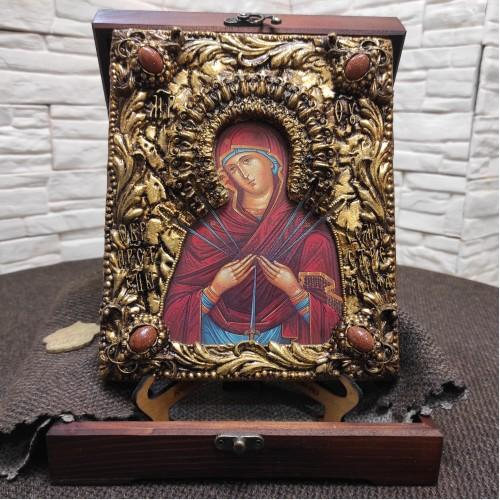 """Икона Пресвятой Богородицы """"Семистрельная"""" с красными камнями"""