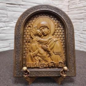 Резная икона богородицы Владимирская в округлой раме