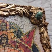 Фото верхнего правого камня иконы под старину Всевидящее око с иглицами и камнями