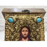 Подарочная икона Господа Вседержителя с иглицами, камнями бирюза