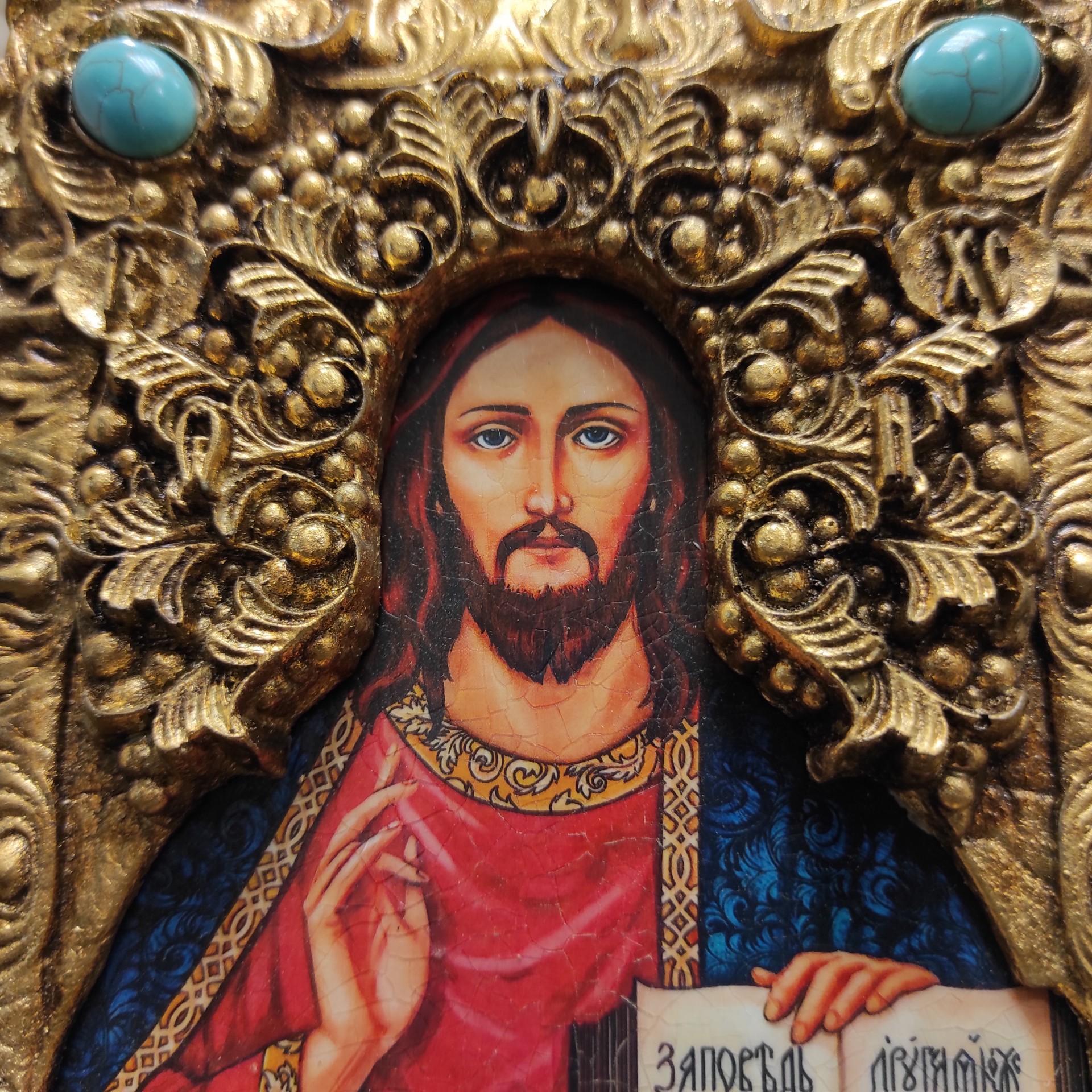 Фото венца подарочной иконы Господа Вседержителя с иглицами, камнями бирюза