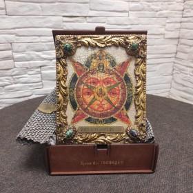 Икона под старину Всевидящее око с иглицами и камнями