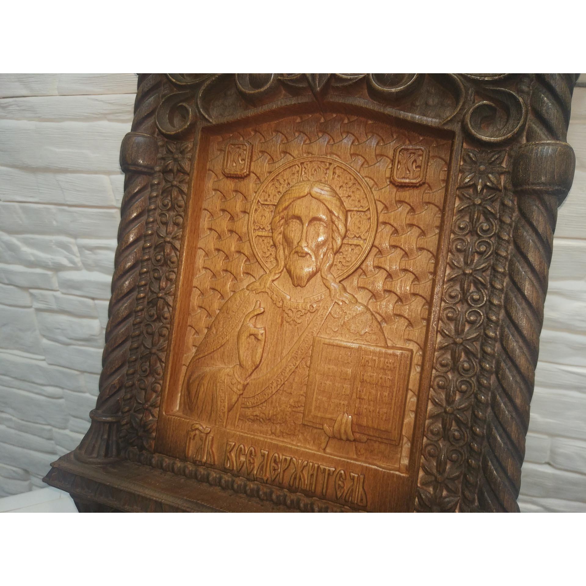 Резная уникальная икона Господа Вседержителя