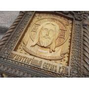 Резная уникальная икона Спас Нерукотворный