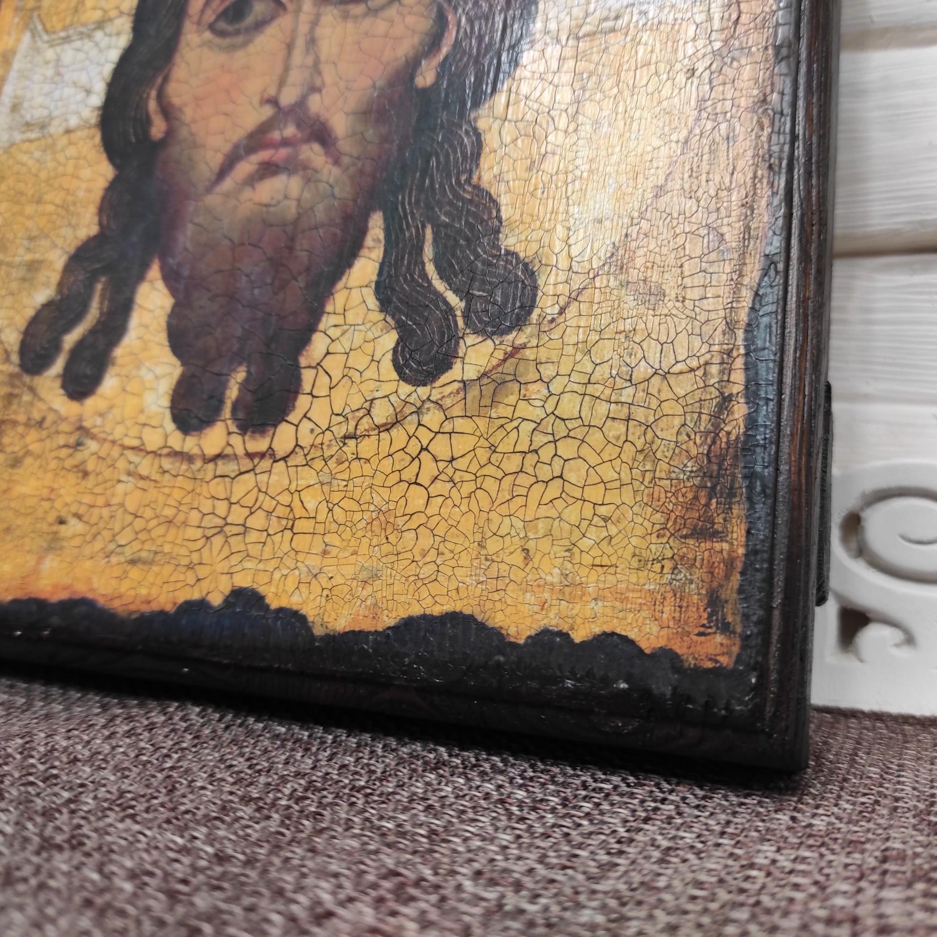 Фото правый нижний угол Спас Нерукотворный икона под старину, массив сосны