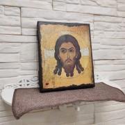 Фото на полочке Спас Нерукотворный икона под старину, массив сосны