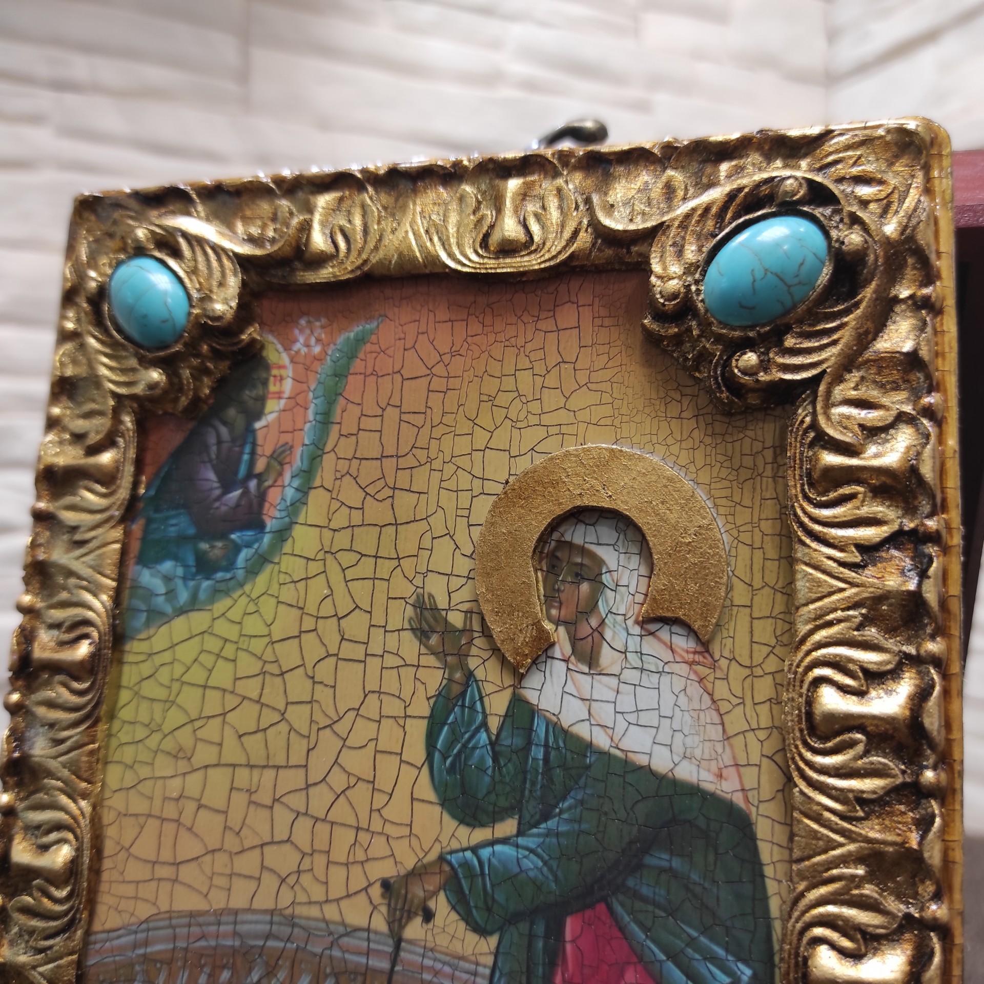 Фото иконы Ксения Петербургская, святая блаженная, подарочная в футляре вид верхних камней