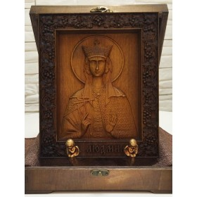 Резная икона cвятая мученица княжна Людмила Чешская