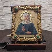 Икона Матрона Московская под старину с иглицами и камнями