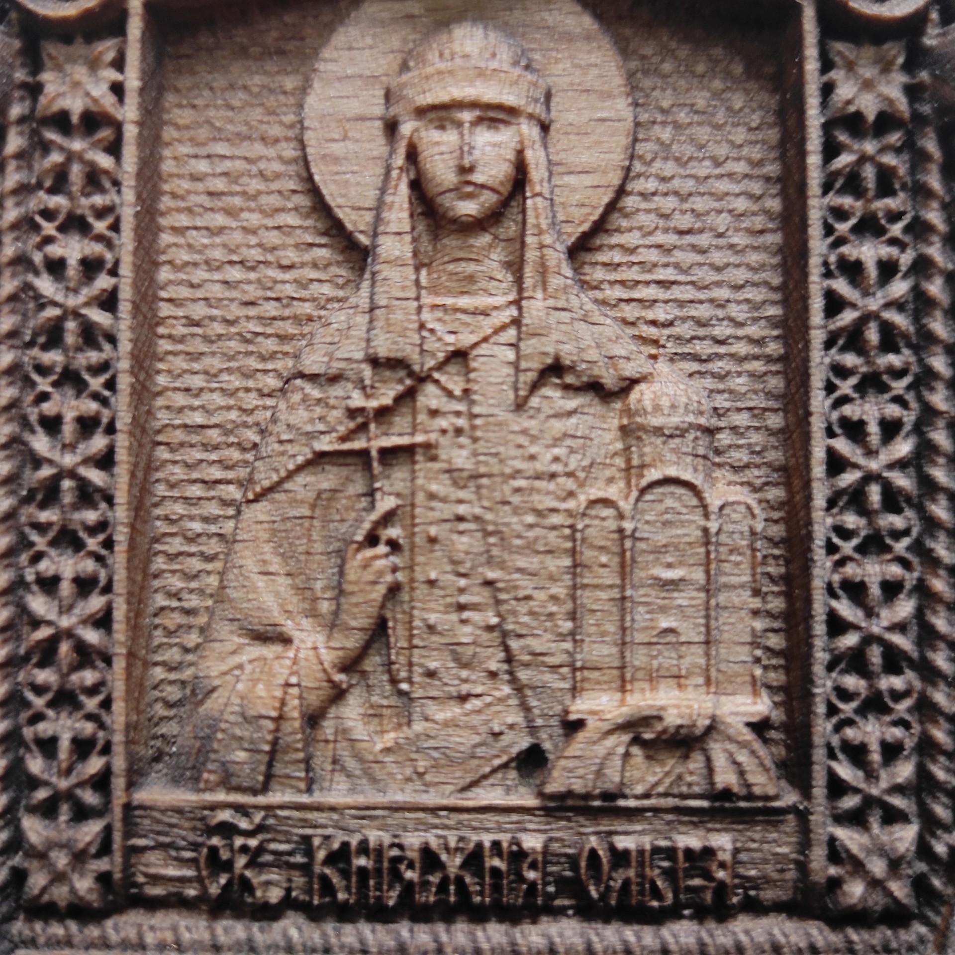 Фото лика маленькая резная икона Ольга равноапостольная, великая княгиня Российская