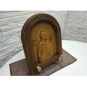 Резная именная икона Валентина Кесарийская, святая мученица в округлой раме