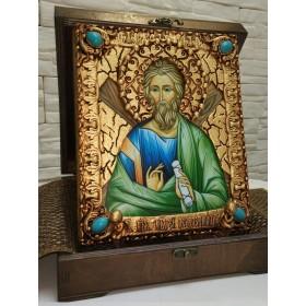 Именная икона святого апостола Андрея Первозванного с камнями