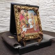 Икона Георгий Победоносец, св. великомученик с иглицами и камнями