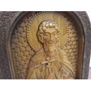 Резная именная икона Леонид Коринфский, св. мученик в округлой раме