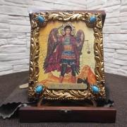 Икона под старину Архангел Михаил с иглицами и камнями