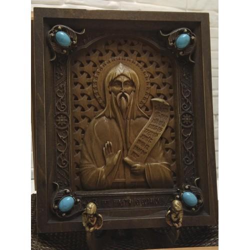Резная икона святой преподобный Никита Столпник, переславский
