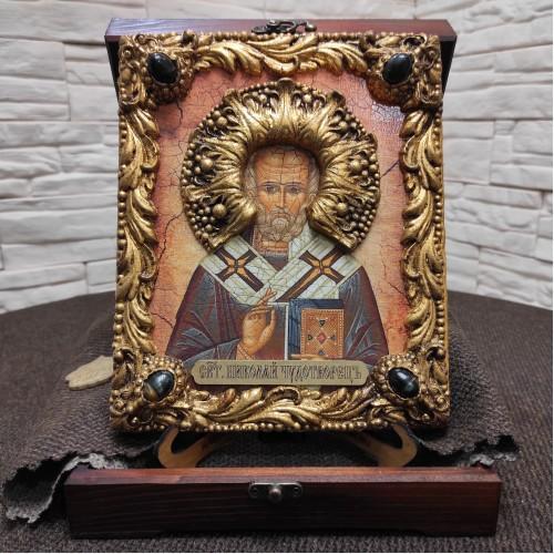 Авторская икона Николая Чудотворца с камнями