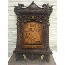 Резная уникальная икона Николая Чудотворца