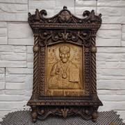 Резная уникальная икона Николай Чудотворец