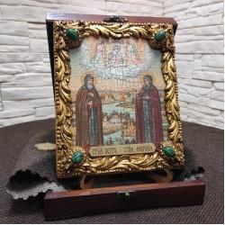 Икона под старину Петра и Февронии с иглицами и камнями