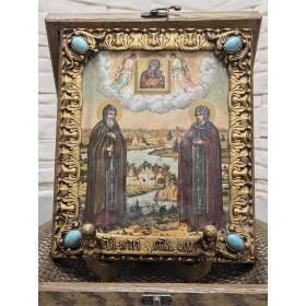 Подарочная икона Петра и Февронии с иглицами и камнями