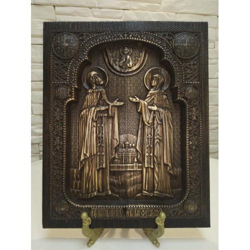 Резная уникальная икона Петра и Февронии Муромских