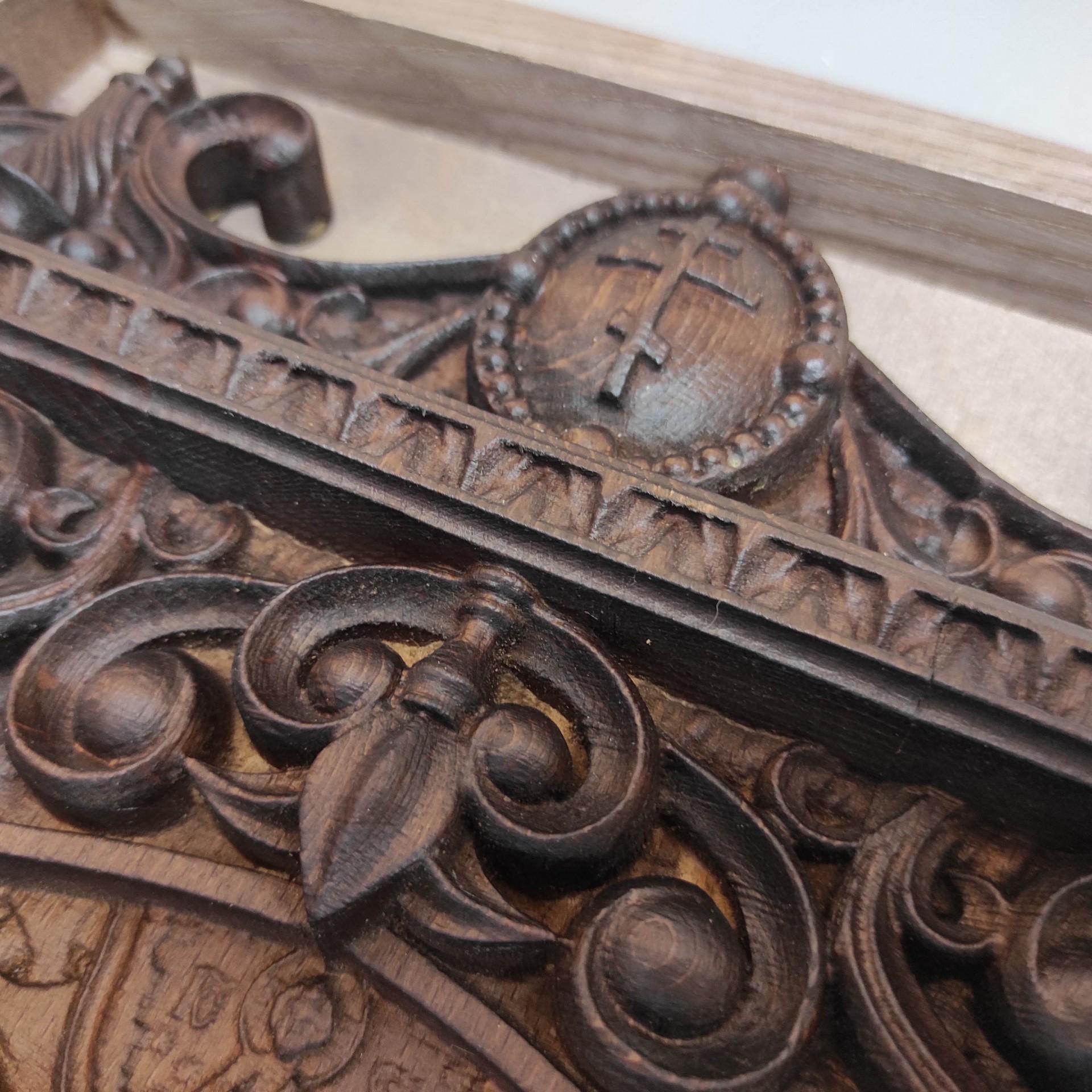 Фото резной уникальная икона Петра и Февронии Муромских 30 на 46 см верх резьбы креста