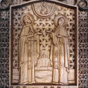 Фото резной уникальная икона Петра и Февронии Муромских 30 на 46 см с фронта