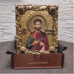 Икона святой мученик Платон Анкирский с камнями