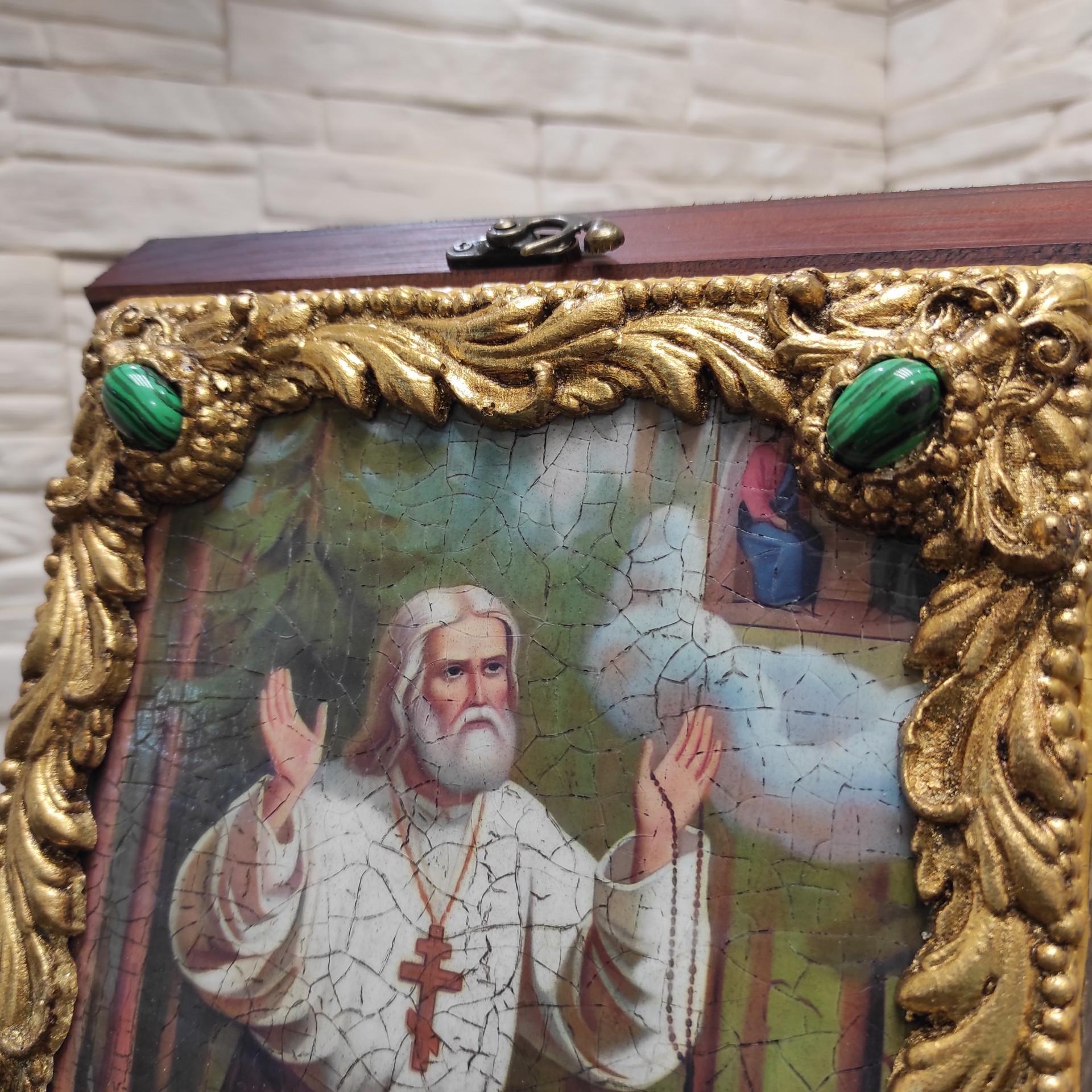 Фото верхних камней авторской иконы Серафима Саровского с камнями