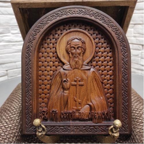 Резная именная икона Сергий Радонежский, святой преподобный в округлой раме