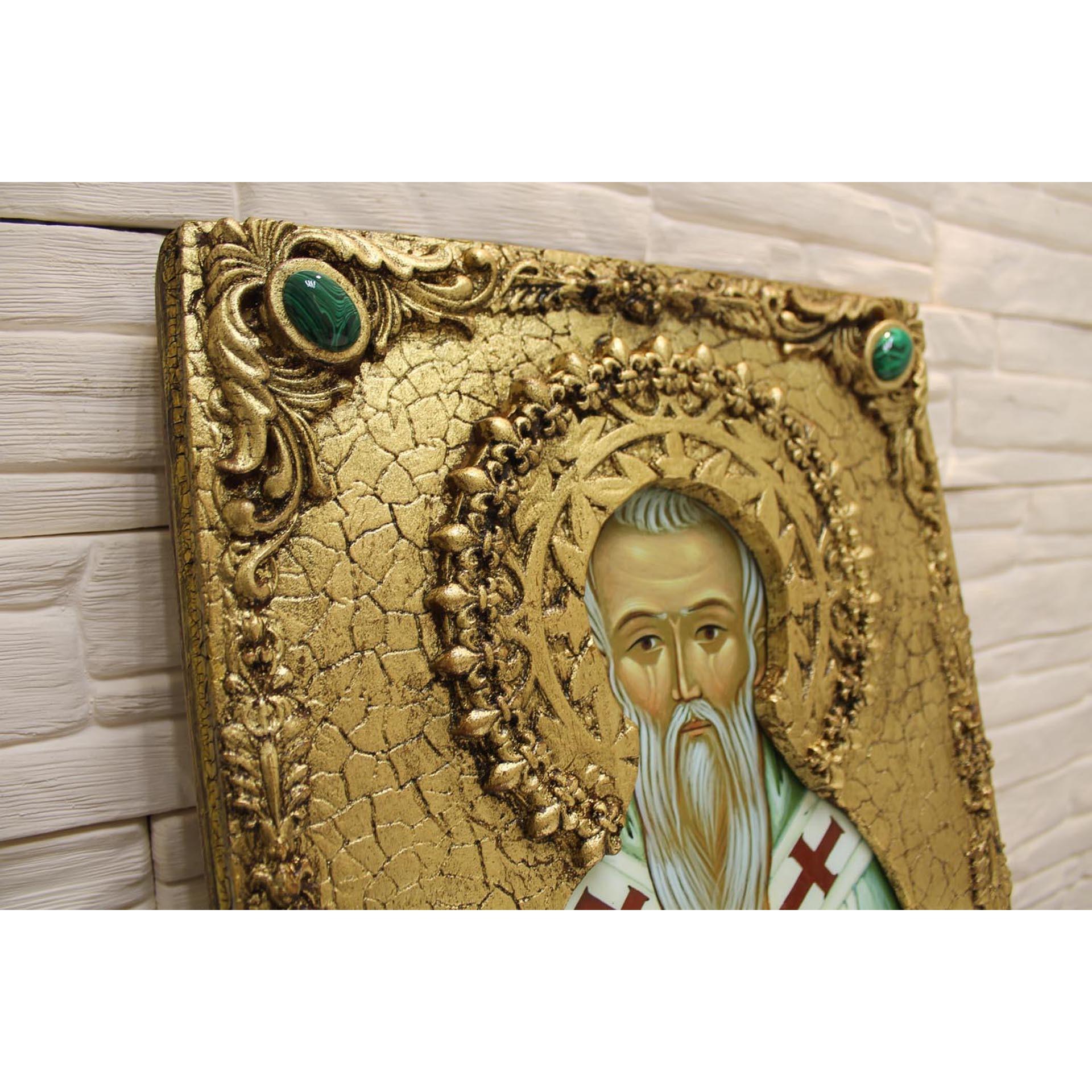 Именная икона Стефан (Великопермский), епископ размером 30 на 40 см с камнями