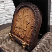 Фото резной иконы Чудо Святого Георгия о змии (Георгий Победоносец)