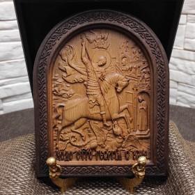 Резная икона Чудо Святого Георгия о змие (Георгий Победоносец)