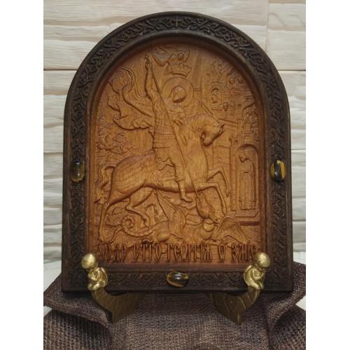 Резная уникальная икона с камнями Чудо Святого Георгия о змии (Георгий Победоносец)