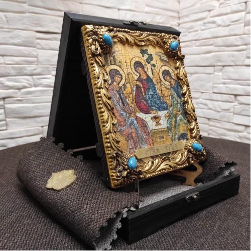 Икона под старину Троица с иглицами и камнями