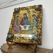 Лик на подставке и полке ангелы иконы под старину Троицы с иглицами и камнями