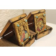 Подарочные венчальные иконы под старину пресвятой богородицы Казанская и Господа Вседержителя