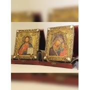 Венчальные иконы молодоженам под старину пресвятой богородицы Казанская и Господа